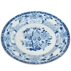 Chinese Blue and White Plate with Floral Motif