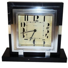 Large 1930s Art Deco French Mantle Clock With 8 Day Movement