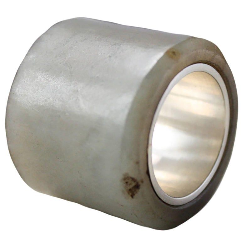 Chinese Jade Archer's Ring Lined in Sterling