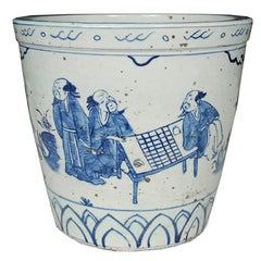 Chinese Blue and White Scroll Pot with Yagi Scene