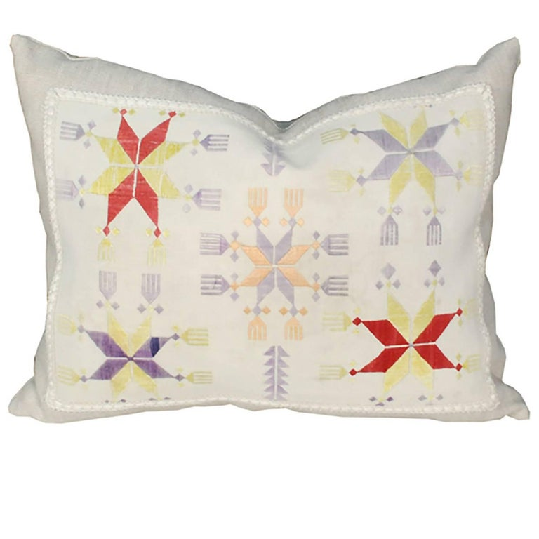 Throw Pillow with Vintage Central Asian Embroidery For Sale