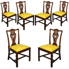 Set of Six English 18th Century George III Chippendale Mahogany Dining Chairs
