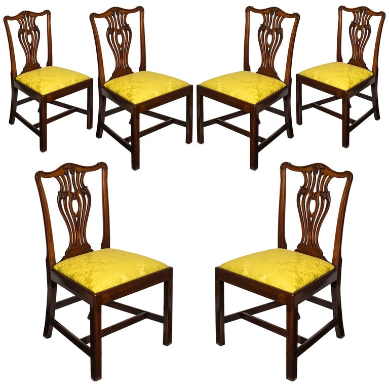 Set of Six English 18th Century George III Chippendale Dining Chairs