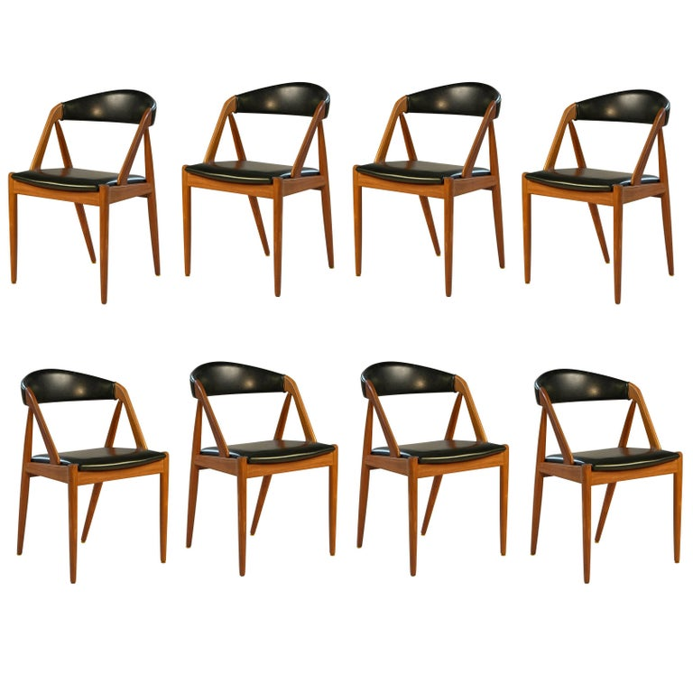 1960s Kai Kristiansen Set of Eight Model 31 Dining Chairs in Teak