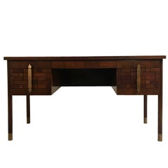 Bert England for Johnson Furniture Stilted Four-Drawer Inlaid Desk