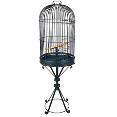 Monumental Wrought Iron Parrot Birdcage on Pedestal, Early 20th Century