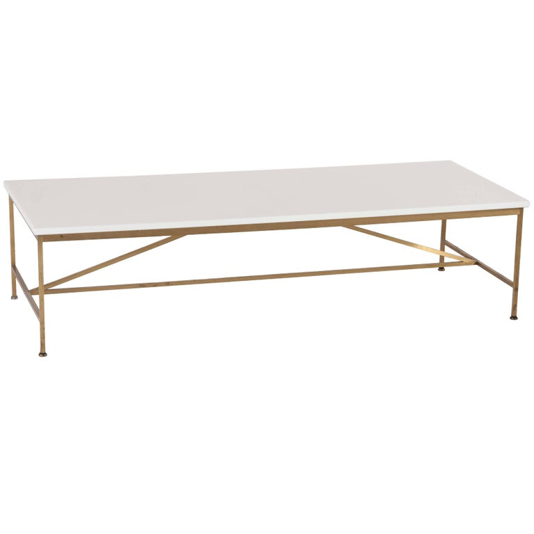 Paul McCobb Brass Frame Coffee Table with White Vitrolite Glass Top