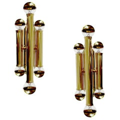 Pair of Staff Six Lights Brass Sconces, Stilnovo STyle