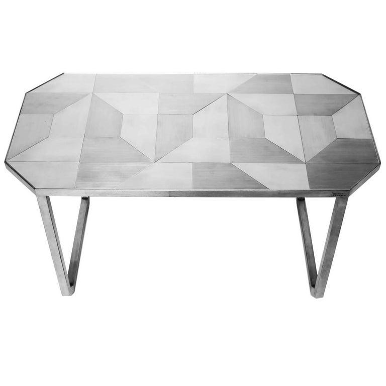 'Trama' Side Table, Geometric Designs in Stainless Steel Inox Tiles