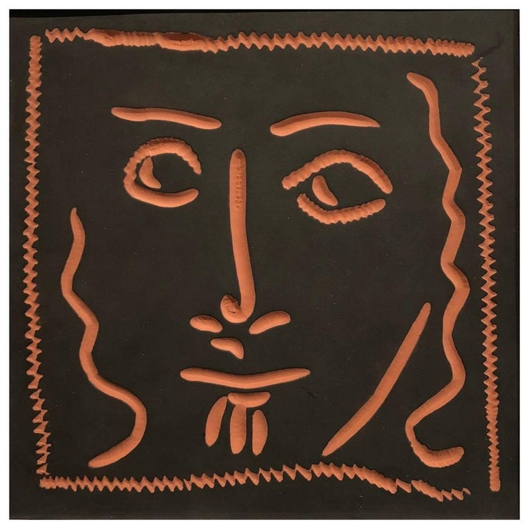 Picasso Edition Madoura Ceramic Square Plaque, Curly Haired Face, 1968