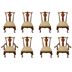 Set of Eight Vintage Queen Anne Style Dining Chairs Signed by Maker