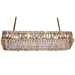 Crystal and Brass Box Chandelier, by J. & L. Lobmeyr, Vienna, circa 1960