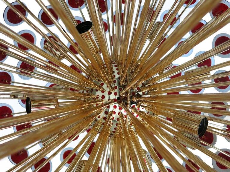 20th Century Italian Red Murano Disco Gold Sputnik For Sale