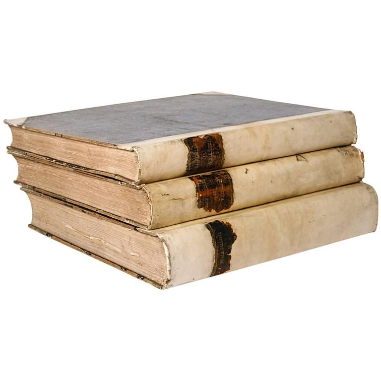 18th Century Large Vellum Books in a Three Volume Set For Sale