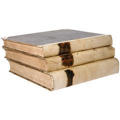 18th Century Large Vellum Books in a Three Volume Set