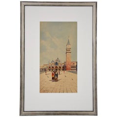 Watercolor of Venice Women at San Marco Sattio Italy 1900