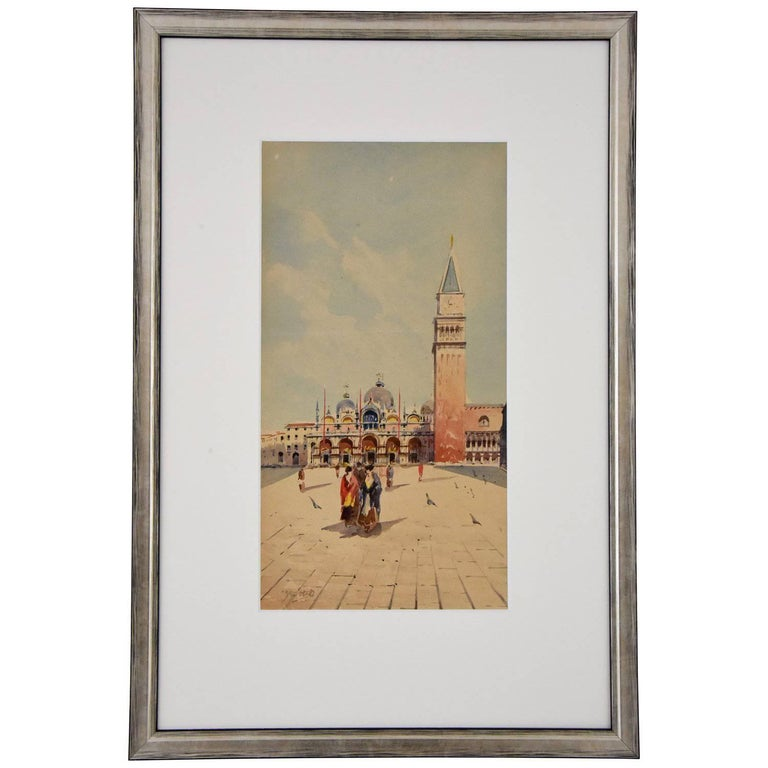 Watercolor of Venice Women at San Marco Sattio Italy 1900 For Sale