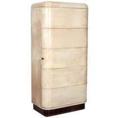 Rare Art Deco Parchment Semainier Cabinet by Jacques Adnet, French, 1930s