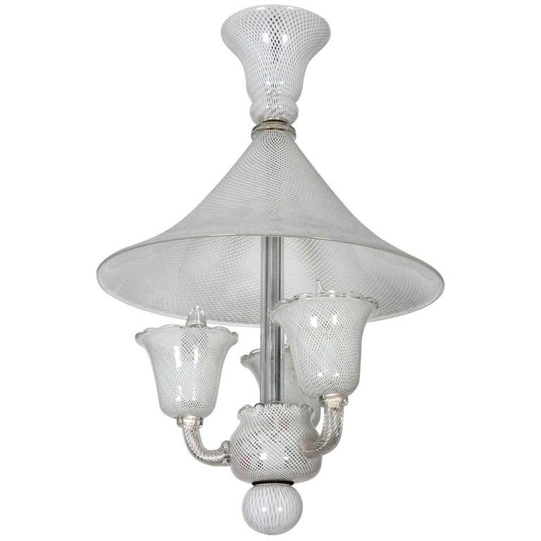 Lattice Venetian Glass Chandelier by Venini