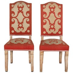 Pair of Felix Davin Side Chairs in Limed Oak and Original Aubusson Tapestry