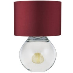 Contemporary Anima Murano Glass Table Lamp, Clear With Gold