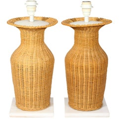1970s Pair of Vingate Laced Rattan Table Lamps