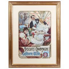 "Alphonse Mucha French Art Nouveau Lithograph ""Biscuits Champagne Lefèvre-Utile"""