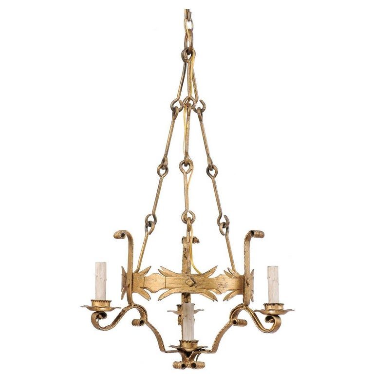 French Mid-20th Century Painted Iron Four-Light Tall Chandelier in Gold