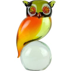 Murano Sommerso Orange Yellow Green Italian Uranium Art Glass Owl Bird Sculpture