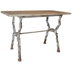 French 19th Century Faux-Bois Garden Table with Marble Top