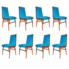 Giuseppe Scapinelli Set of Eight blue Chairs