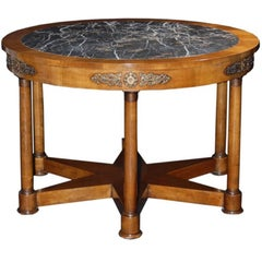 19th Century Style Marble Walnut Center Table design by Renaissance Collection