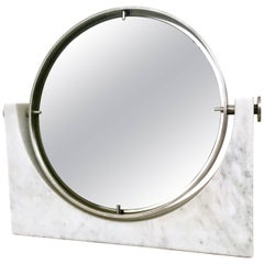 Vanity Mirror Attributed to Mangiarotti with Carrara Marble Base, Italy, 1970s