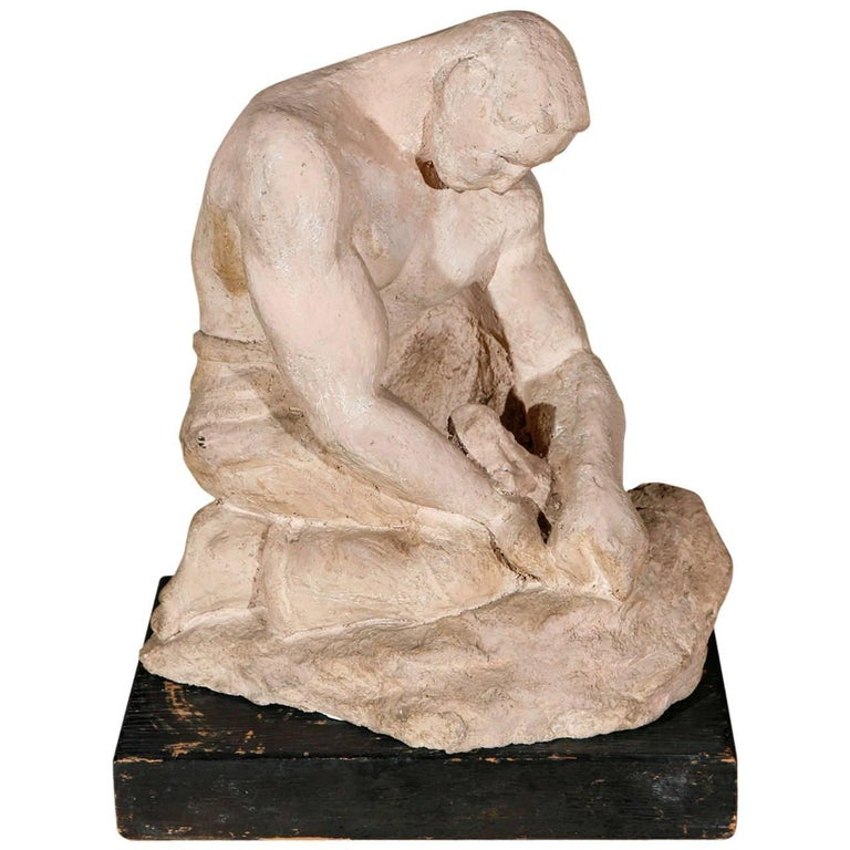 WPA Sculpture of Man in Thought For Sale