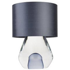 Contemporary New Born Murano Glass Table Lamp, Clear With Grey