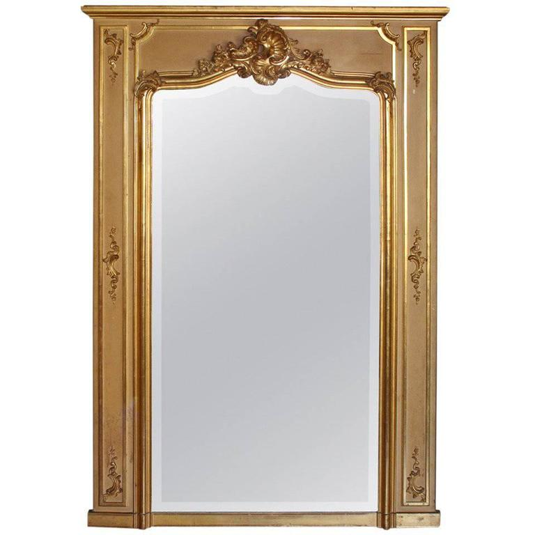 Early 20th Century Louis XV Style Trumeau Mirror in Giltwood 1