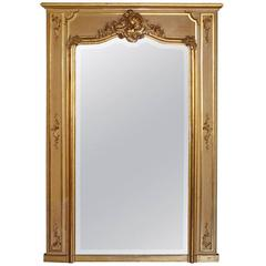 Early 20th Century Louis XV Style Trumeau Mirror in Giltwood