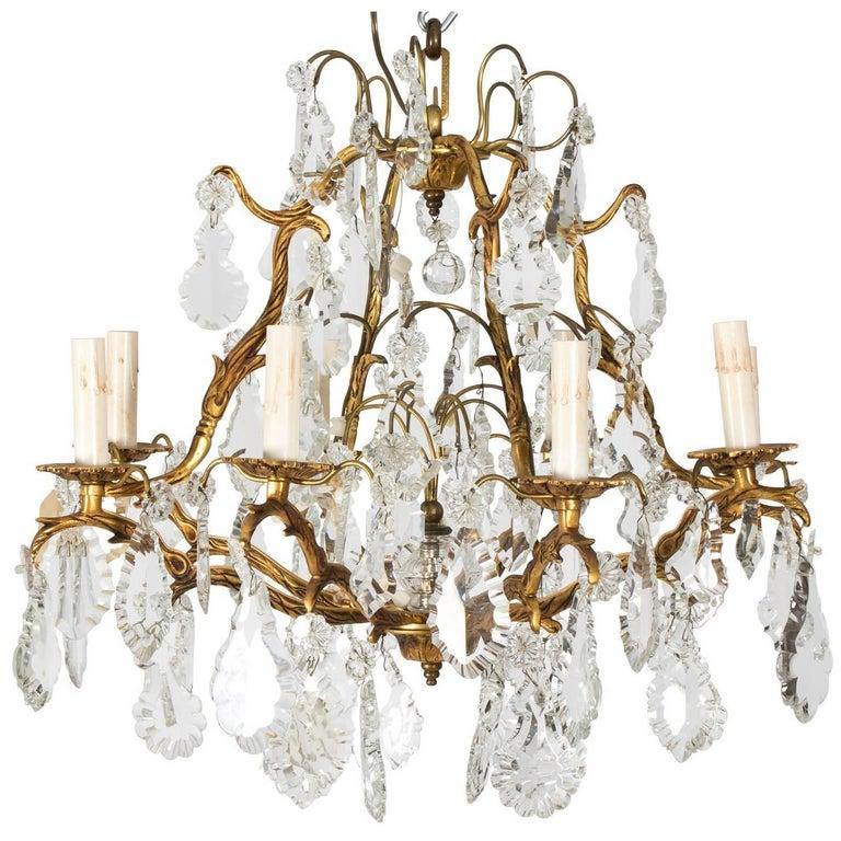 Eight-Light Crystal Chandelier, circa 1900