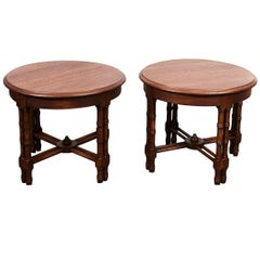Pair Mid-Century Faux Bamboo Side Tables