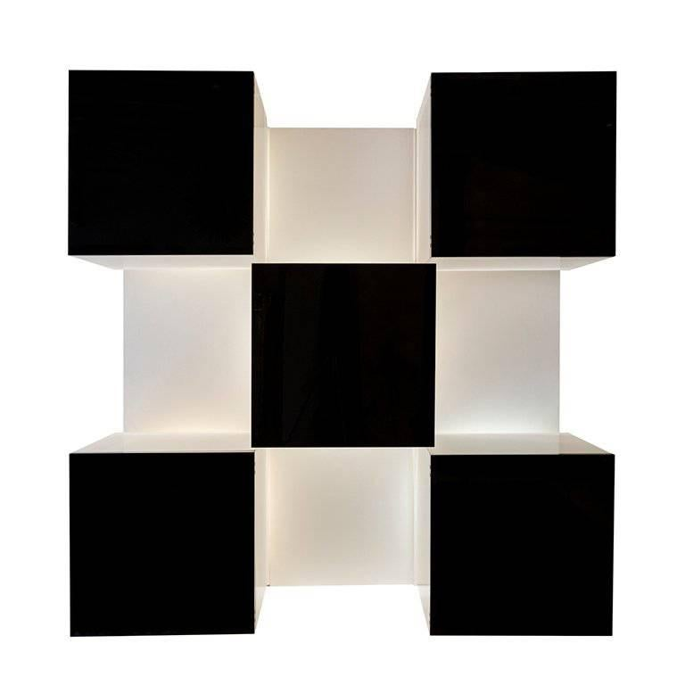Backlit Bookcase Designed by Roberto Monsani for Acerbis For Sale