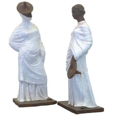 Pair of Italian Glazed Terracotta Tanagra Style Female Figurines