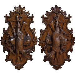 Pair of 19th Century Swiss Carved Walnut Black Forest Wall Hunting Trophies