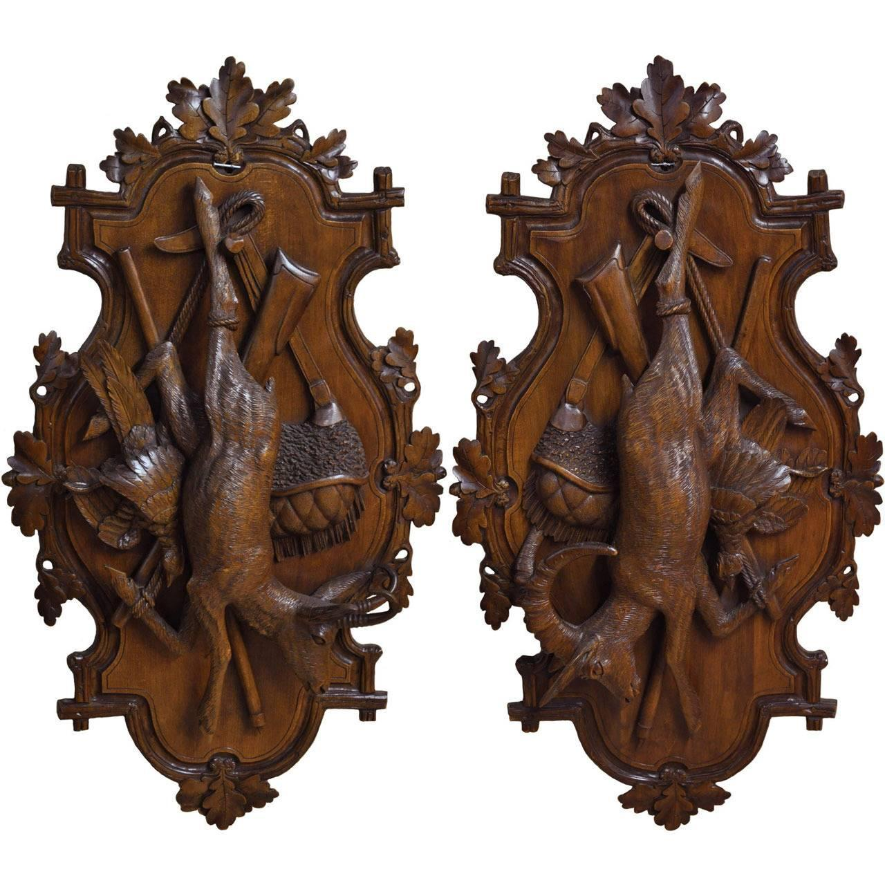 Pair Of 19th Century Swiss Carved Walnut Black Forest Wall Hunting Trophies For Sale At 1stdibs