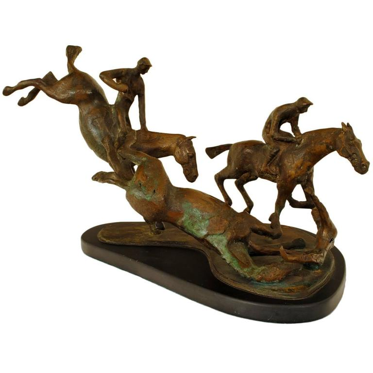 """Mid-20th Century Figural Bronze Group on Marble Base, """"Steeplechase"""" Unsigned"""