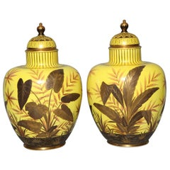 Unusual Pair of Yellow Ground Antique Royal Crown Derby Porcelain Vases