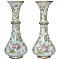 Fine Pair of Antique French Opaque White Opaline Glass Vases