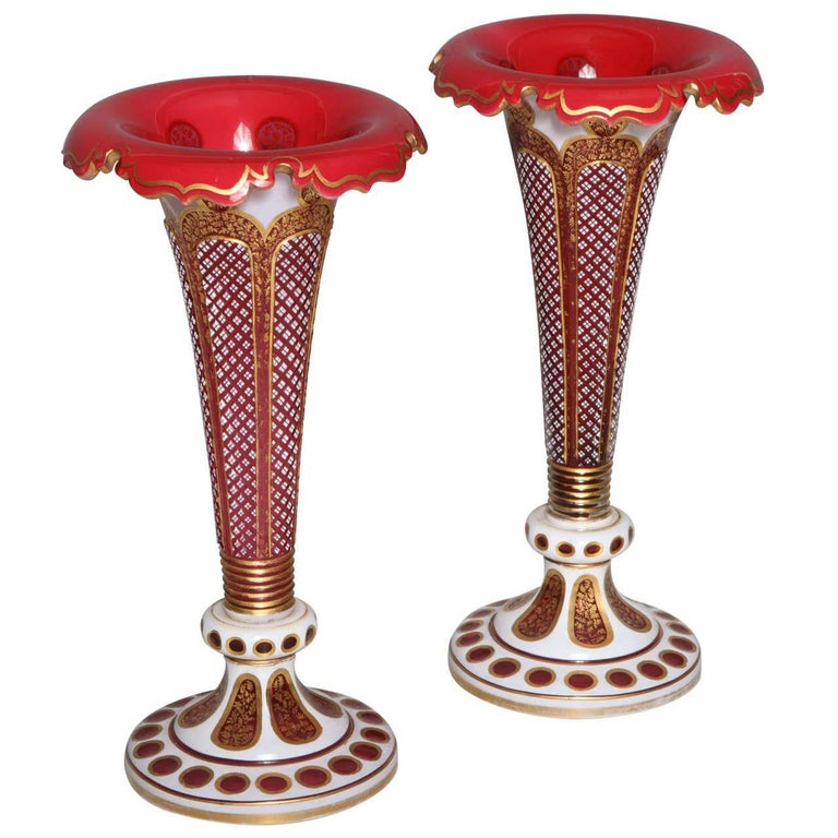 Pair Of Antique Bohemian Double Overlay Cut Glass Vases For Sale At