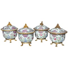 Set of Four Antique Chinese Famille Rose Porcelain Covered Compotes