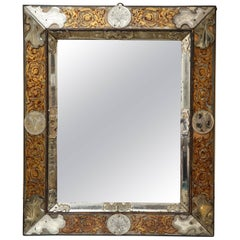 Important German Baroque Red and Gilt Verre Églomisé Mirror