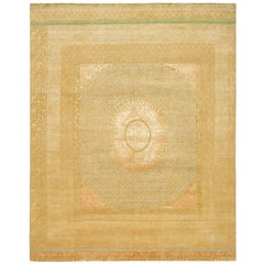 """""""Charbagh"""" Beige Gold Hand-Knotted Area Rug Wool, Silk, In Stock"""